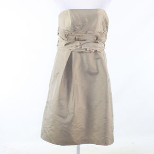 Ann Taylor khaki silk strapless A-line dress 6